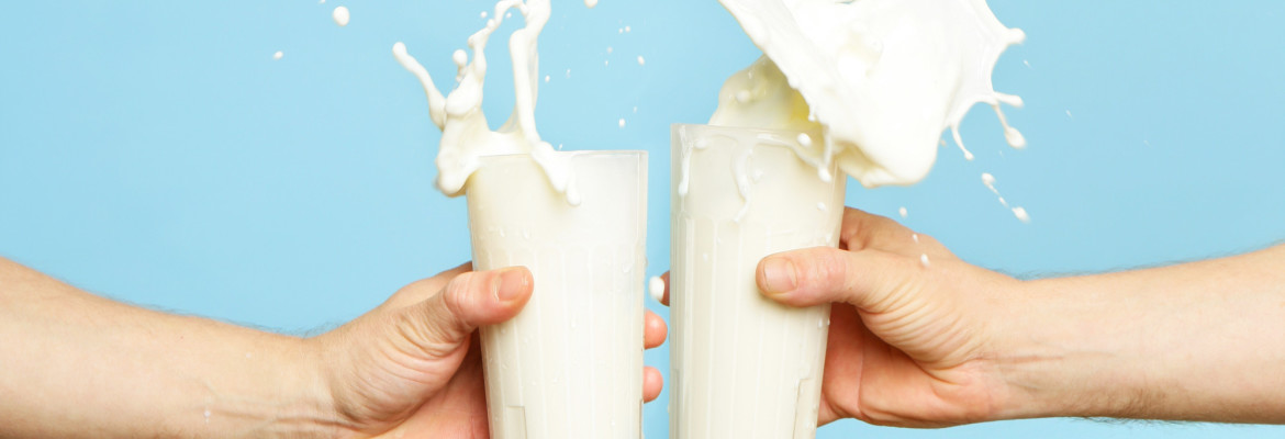 Toasting with Milk Glass