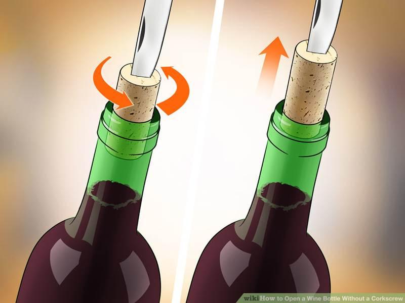 открыть вино ножом