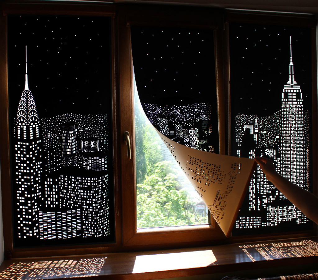 плотные шторы днем