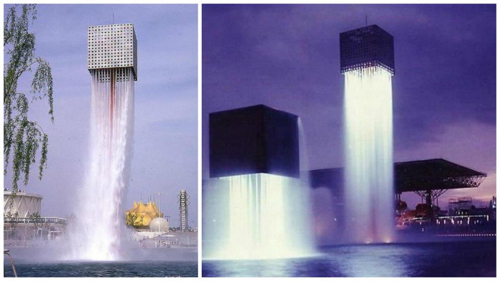 парящий фонтан в японии