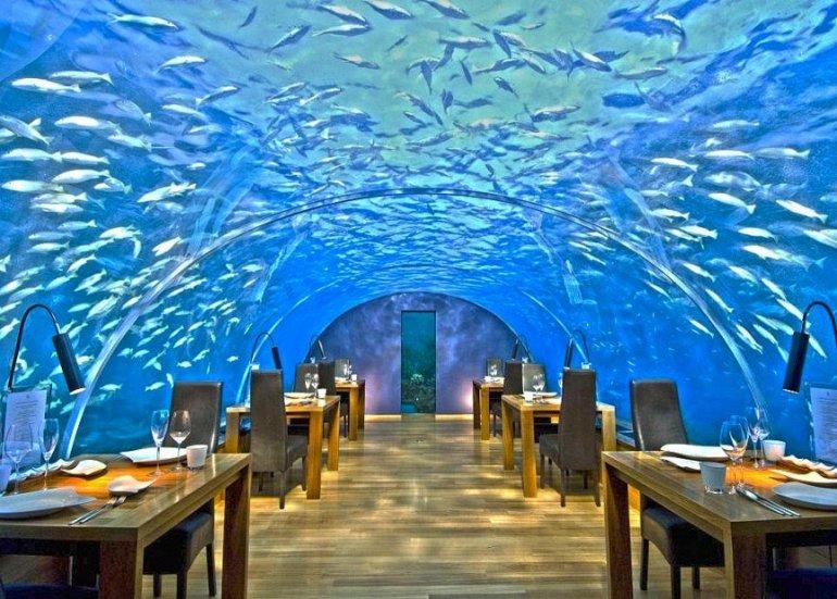 необычный ресторан на мальдивах