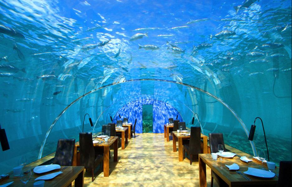 ресторан под водой на мальдивах